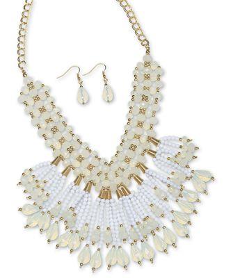 Bead/Tassel Necklace/Earring Set