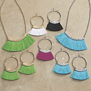 fringe bar necklace earring set