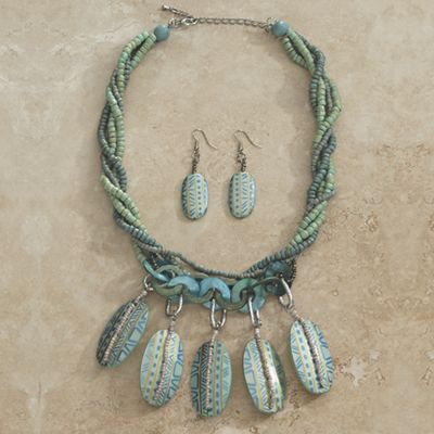 Blue/Green Beaded Necklace/Earrings Set