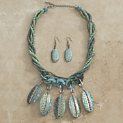 blue green beaded necklace earrings set