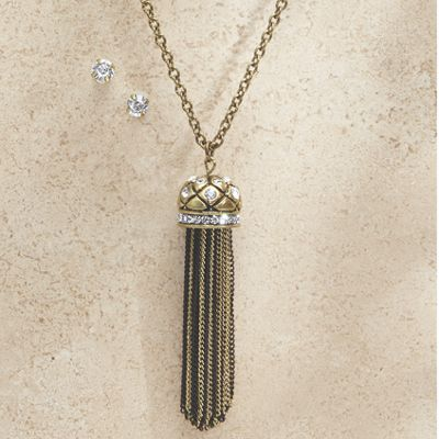 Chain Tassel Necklace/Earring Set