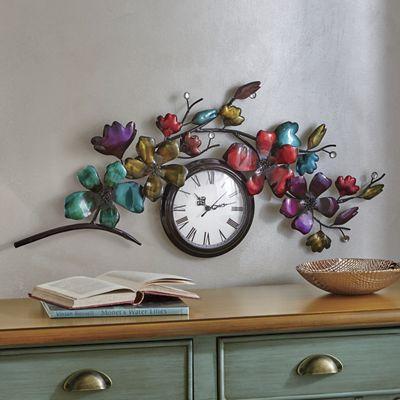 Metal Floral Wall Clock