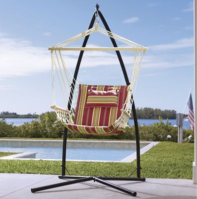 Striped Swing Hammock Chair and Hanging Hammock Chair Stand Base