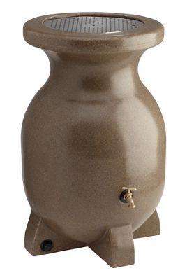55-Gallon Sandstone-Look Decorative Rain Barrel