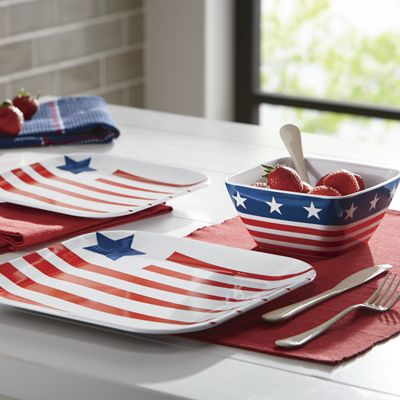 American Flag 12 Piece Melamine Dinnerware Set From