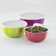 set of 3 colored stainless steel microwave bowls with lids