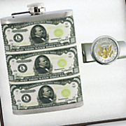 hip flask and presidential seal money clip gift set