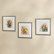 set of 3 framed sunflower art
