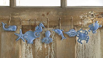 Set of 9 Coastal Ornaments