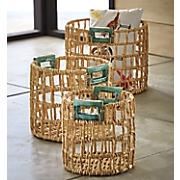 set of 3 teal handle baskets