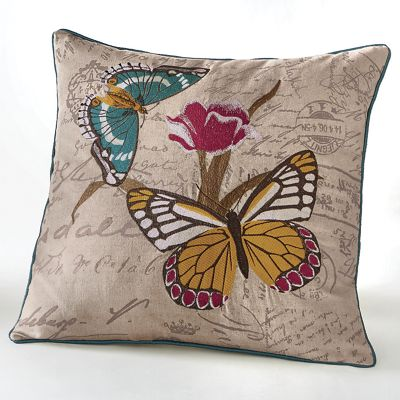 Butterfly Embroidered Pillow