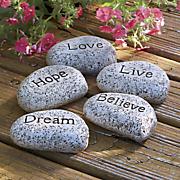 set of 5 word stones