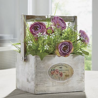 Cabbage Rose in Wood Box