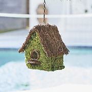 super moss mansion birdhouse with chain