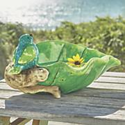 ceramic leaf birdbath
