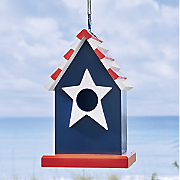 red  white   blue birdhouse