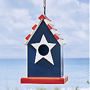 red  white   blue birdhouse