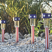 set of 4 stars and stripes solar light