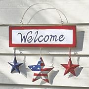 hanging patriotic welcome sign