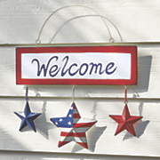 hanging patriotic welcome sign