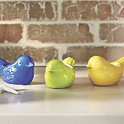 set of 3 bird tealight holders