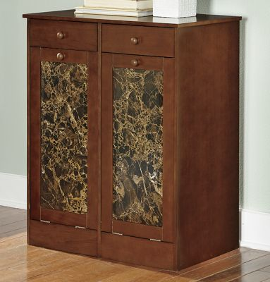 Faux Marble Double Trash Bin