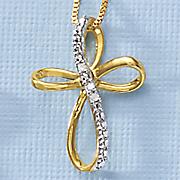 diamond open cross pendant