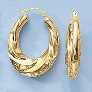 14k gold nano swirl oval hoop earrings with diamond accent