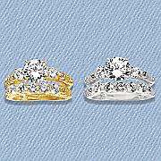 cubic zirconia white topaz solitaire bridal set