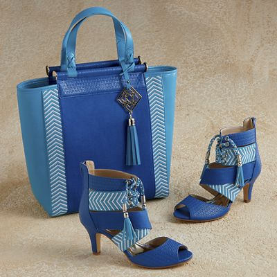 Kamarie Tote and Woven Crossover Sandal