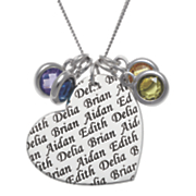 personalized sterling silver family heart pendant