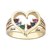 personalized heart family name ring