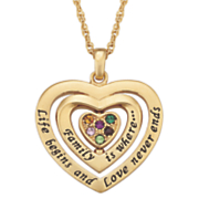 personalized family birthstone swivel heart pendant