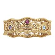 personalized family secret garden filigree heartstone ring