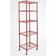 5 shelf tower metal rolling rack