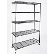5 shelf wide metal rolling rack