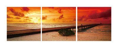3-Piece Red Beach Wall Art