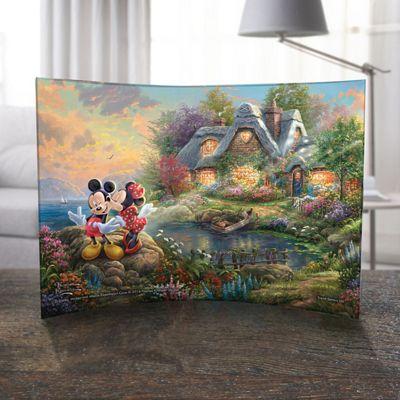 Thomas Kinkade Mickey & Minnie Sweetheart Cove Curved Print