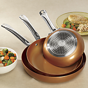 set of 3 round copper fry pans by copper chef