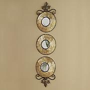 set of 3 capiz wall mirrors 98