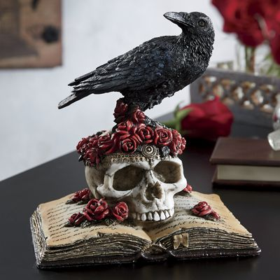 Raven, Skull, Roses and Book Figurine