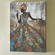 african lady in embellished dress print