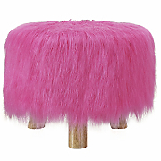 colorful faux fur stool by linon