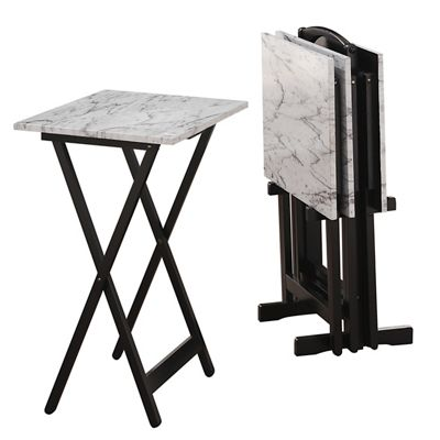5-Piece White Faux Marble Tray Table Set by Linon