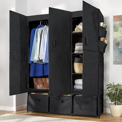 3-Door Fabric Storage Wardrobe