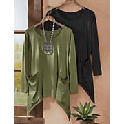 jacinda long sleeve knit top with pockets