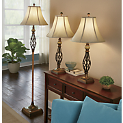 3 pc  floor and table lamp set