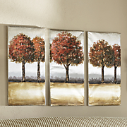 3 pc  fall trees triptych set