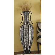black and gray patterned vase