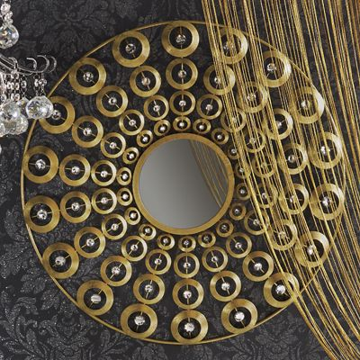 Gold Circles Wall Mirror